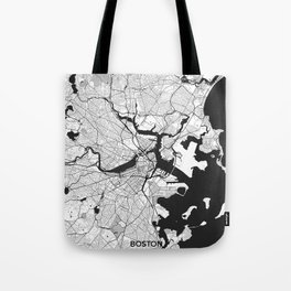 Boston Map Gray Tote Bag