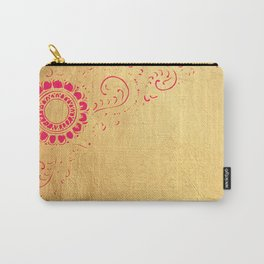 Pata Pattern in Pink on Gold Carry-All Pouch