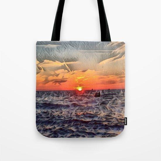 Lake Michigan Romantic Sunset Tote Bag