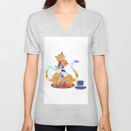 Tea for 2 Kitty Loves Unisex V-Neck