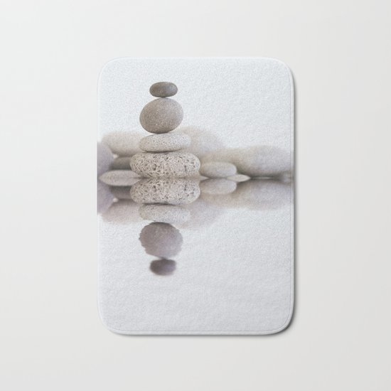 Stone Balance pebble cairn and water Bath Mat