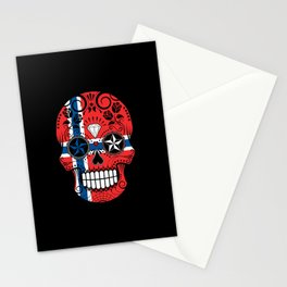 Sugar Skull with Roses and Flag of Norway Stationery Cards