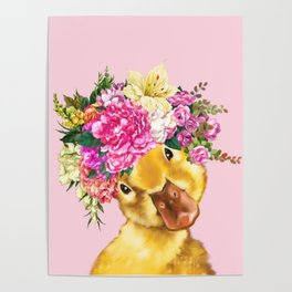 Flower Crown Baby Duck in Pink Poster