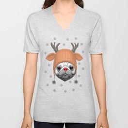 Pug Rudolph Unisex V-Neck