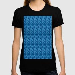Classic Blue Boho Festival Abstract Wave Geometric Pattern T-shirt