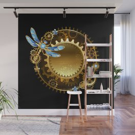 Steampunk banner with a dragonfly Wall Mural