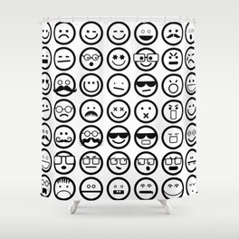 Black and White Emoticons Shower Curtain