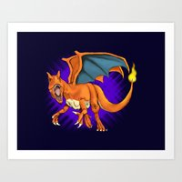 charizard Art Prints featuring Charizard by Aliece Carney