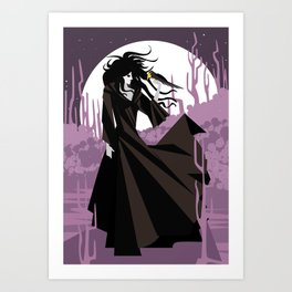 dark gothic black dress woman holding a crow bird in the night Art Print