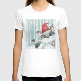 Winter Woodland Friends Cute Racoon Snowy Forest Illustration T-shirt