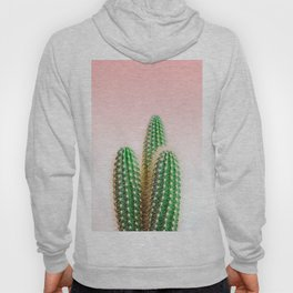 Modern colorful tropical cactus photography with pastel pink gradient Hoody