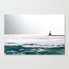 Winter in Chicago aka Chiberia; Ice Patches Float in Lake Michigan Canvas Print