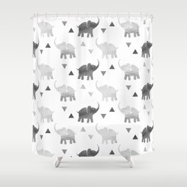 Elephants and Triangles - Silver Shower Curtain