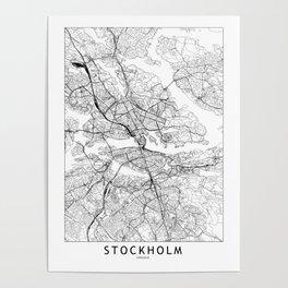 Stockholm White Map Poster