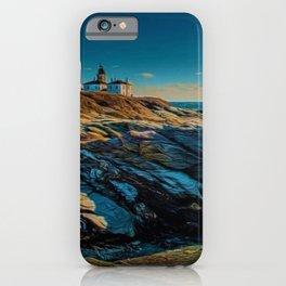 Island of Jamestown, Rhode Island Beaver Tail Lighthouse landscape painting iPhone Case