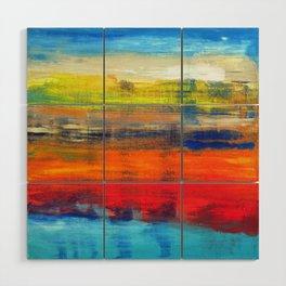 Horizon Blue Orange Red Abstract Art Wood Wall Art