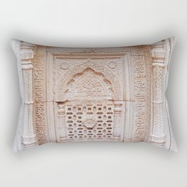 Qutub (Qutb) Minar, Intricately Carved Minaret Temple Wall in India - Sacred Archiecture Rectangular Pillow