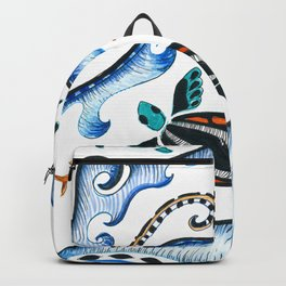 Sea Turtles And Waves Doodle Ink Backpack