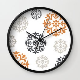 Flowers in Grey and Mustard Wall Clock