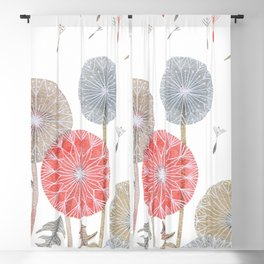 Red dandelions, watercolor Blackout Curtain