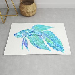 Blue Beta Fish - ocean, sea, beach, watercolor Rug