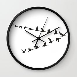 Geese fly in V-shaped Wall Clock
