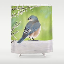 Bluebird and Blossoms Shower Curtain
