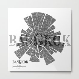 Bangkok Map Metal Print