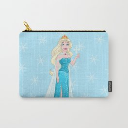 Snow Princess In Blue Dress Holds Snowflake Carry-All Pouch