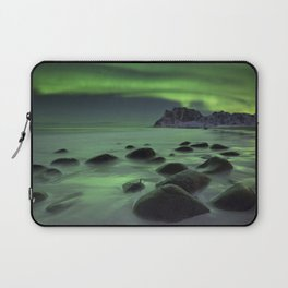 Aurora borealis over a beach on the Lofoten in Norway Laptop Sleeve