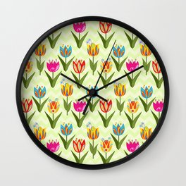 Decorative fantasy tulips on a chevrons background Wall Clock