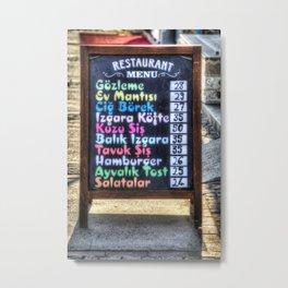 Turkish Restaurant Menu Board Metal Print