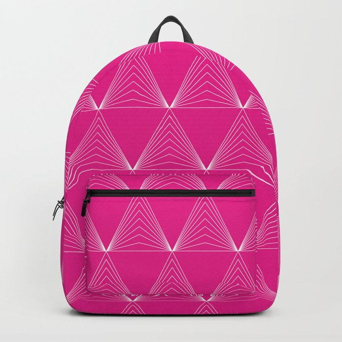 Simple Geometric Triangle Pattern- White on Pink - Mix & Match with Simplicity of life Backpack