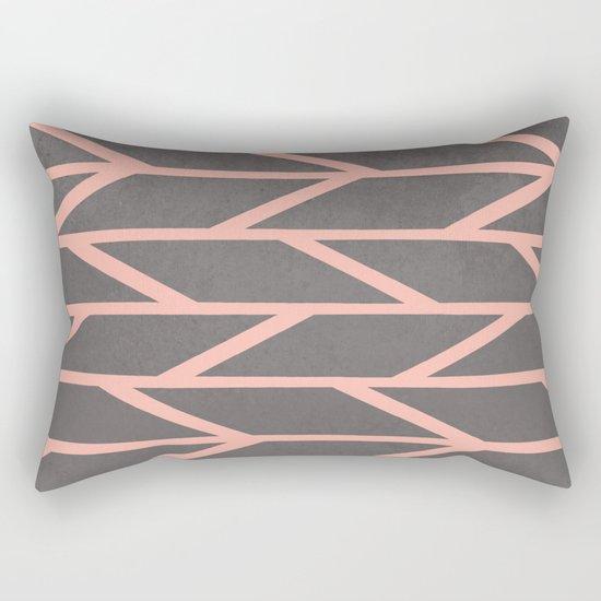 Modern Rectangle Pillow : Modern blush pink stripes chevron geometric grey concrete cement background Rectangular Pillow ...