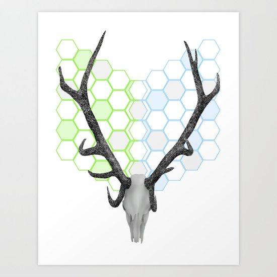 Stag Skull Art Print