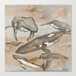 Whales. Ink and acrylic on birch. Canvas Print