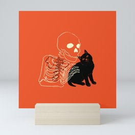 Skeleton and Cat Mini Art Print