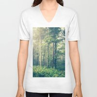 woodland V-neck T-shirts featuring Inner Peace by Olivia Joy StClaire