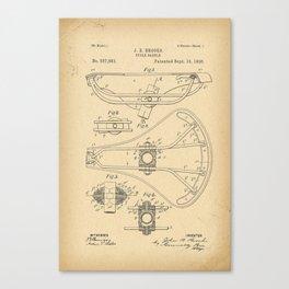 1896 Patent Bicycle saddle Canvas Print