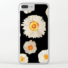 White Daisy Flowers Clear iPhone Case