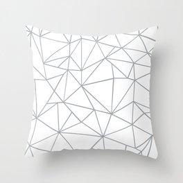 Ab Outline 2 Grey on White Throw Pillow