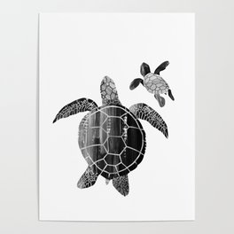 Shielded Love (black and white) Poster