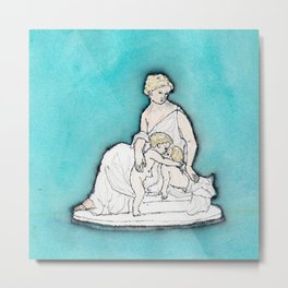 parian ware sketch of mother and children Metal Print