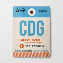 CDG Paris Luggage Tag 2 Metal Print