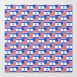 Mix of flag : usa and israel Canvas Print