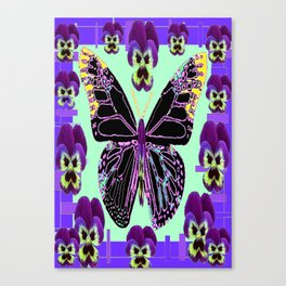 Black Butterfly Jade Green with Purple Violas Abstract Design Canvas Print