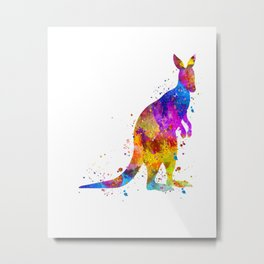 Watercolor Kangaroo Metal Print