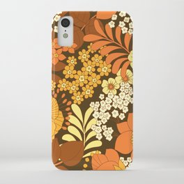 Brown, Yellow, Orange & Ivory Retro Flowers iPhone Case