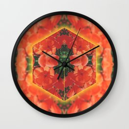 Orange Flower Collage Wall Clock