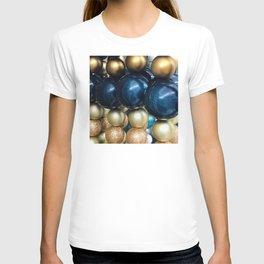 Hanukkah / Christmas Blue And Gold Holiday Ornaments T-shirt